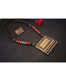 Traditional Dazzling Terracotta Jewellery Set (Antique bronze)