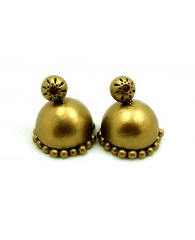 Golden Drop terracotta jhumka