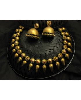 Golden Drop terracotta jewellery set