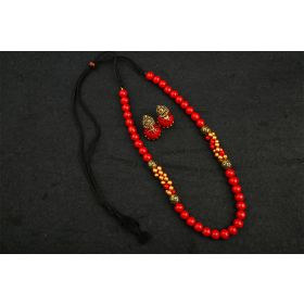Carmine Bead Terracotta Jewellery Set