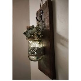 Hanging Glass Jar Mounted On Teak Wood Plate  With Flowers And Lights
