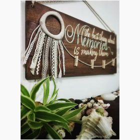 Hand Painted  Wooden Board With Jellyfish Dream Catcher