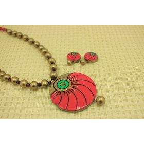 Opulent daily-wear terracotta jewellery set