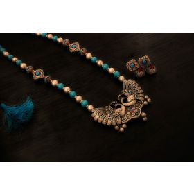 Earthern peacock terracotta jewellery set (antique silver & Aqua blue)