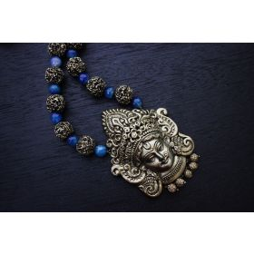 Gunalini Amman Temple Terracotta Jewellery (Antique Bronze-Cobalt Blue)