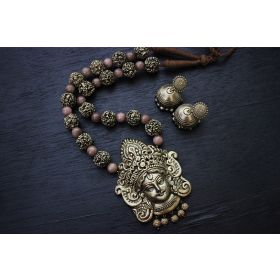Gunalini Amman Temple Terracotta Jewellery (Antique Bronze-Peach)