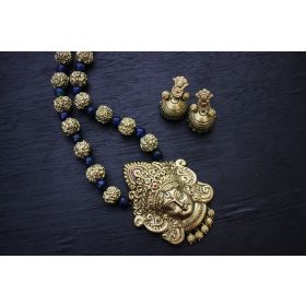 Gunalini Amman Temple Terracotta Jewellery ( Gold-Prussian Blue )