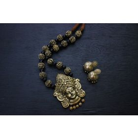 Gunalini Amman Temple Terracotta Jewellery ( Gold )-black